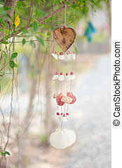 Mobile from sea shells for household decoration