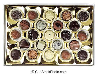 Chocolates box, isolated on white background. Chocolate...