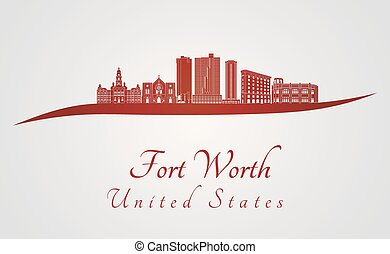 Fort Worth skyline in red and gray background in editable...