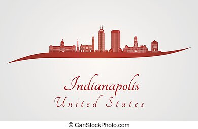 Indianapolis skyline in red and gray background in editable...