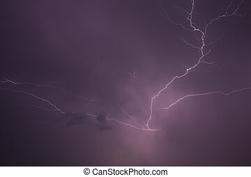 Lightning storm scene - Lightning storm in the middle of the...