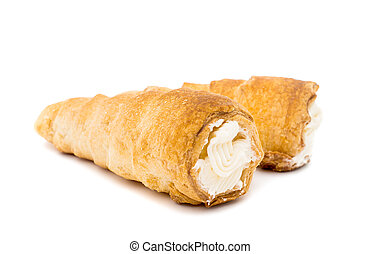 puff rolls with cream on white background
