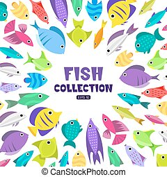 Cartoon fish collection background - Fish collection....