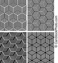 Seamless op art patterns. Vector art.