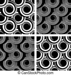 Seamless patterns with spiral elements Graphic textures set...