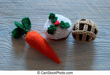 meal to treat for santa rudolph - Group of food as carrot,...