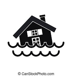House sinking in a water icon, simple style