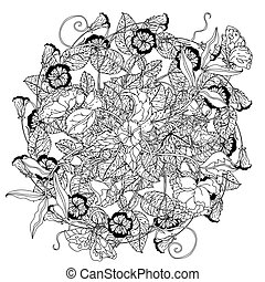 hand drawn wild roses set - luxury flowers bouquet in shape...