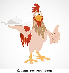 Cartoon funny rooster - Cartoon rooster holding serving...