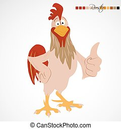 Cartoon funny rooster - Cartoon rooster showing thump up to...