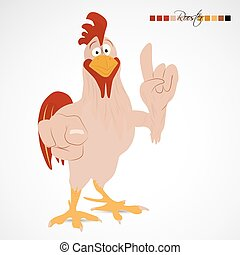 Cartoon funny rooster pointing with wing to you and upwards