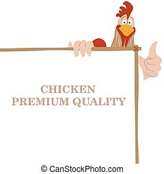 Cartoon funny rooster wit chicken premium quality banner,...