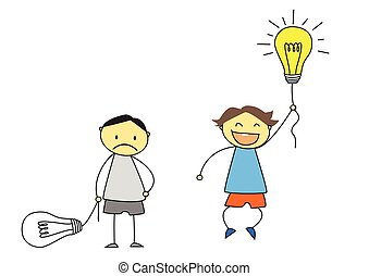 kids with light bulb illustration - creativity concept