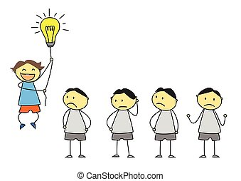 creativity concept, standing out from the crowd