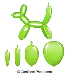 Green dog toy from a balloon isolated on white background. 3d illustration. vector