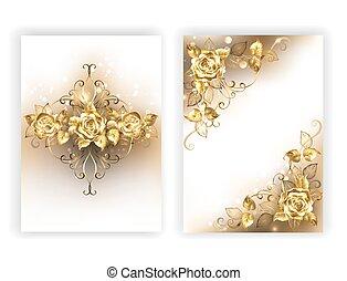 white design with golden roses - Design of glittering,...
