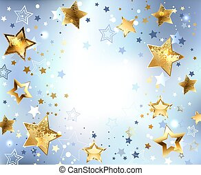 Blue background with gold stars - Blue, abstract, light...