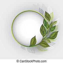 Round banner with patterned tea leaves - Round banner with a...