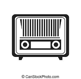Antique radio stereo in black and white colors