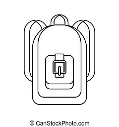 Backpack icon, outline style - Backpack icon in outline...