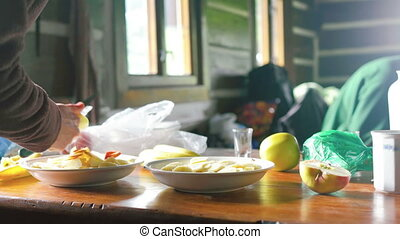 Making of Morning Breakfast - Young caucasian woman working...