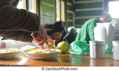 Hikers Having Morning Breakfast - Woman preparing healthy...