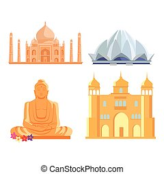 Set Indian Architectural Landmarks - Set famous Indian...
