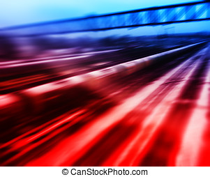 Blue and red train in motion abstraction