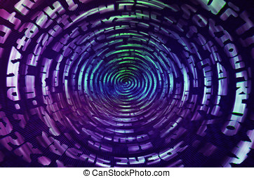 Purple data information teleport swirl illustration...
