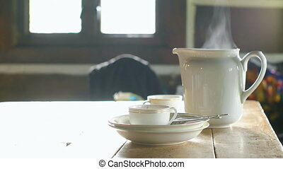 Tea Set in the Mountain Cabin - Smoke coming out of the tea...