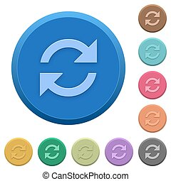 Embossed refresh buttons - Set of round color embossed...