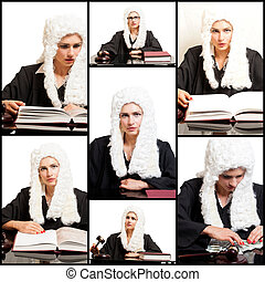 Portraits of Female Judge wearing a wig and black...