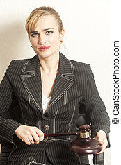 Female Judge With Wooden Gavel