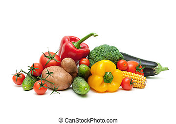 ripe fresh vegetables isolated on white background close up