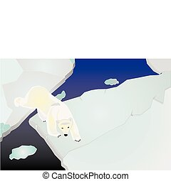 Polar bear on icepack walking - Polar bear illustration,...