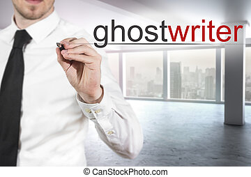 businessman writing ghostwriter in the air - businessman in...