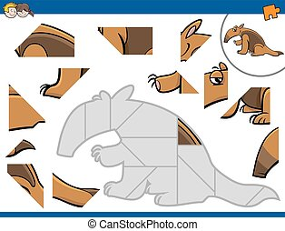 jigsaw puzzle with anteater - Cartoon Illustration of...