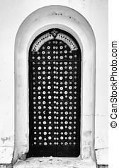 Vertical black and white church door entrance background backdro