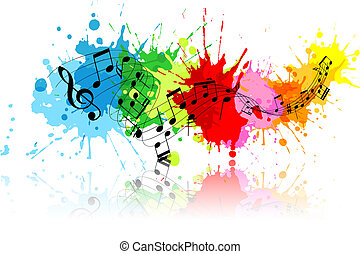 Abstract grunge music background with colourful paint splats