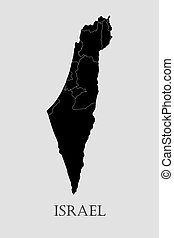 Black Israel map - vector illustration - Black Israel map on...