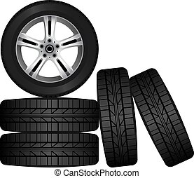 Wheel and tire set for transport or service design. Shining car disk isolated.