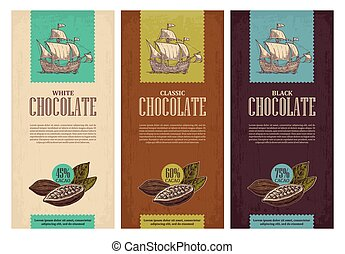 Set of label for chocolate with fruits of cocoa beans and sailing ship floating on the sea waves