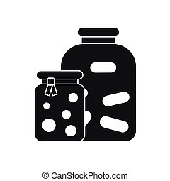 Jars with pickled vegetables and jam icon in simple style...