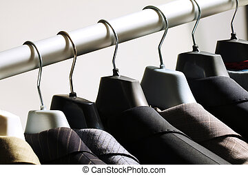 Jackets on hangers - Photo of hangers with jackets on them...