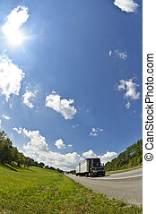 Fish eye Lens Image of a Semi Truck - Vertical Fish eye Lens...
