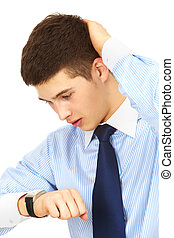 Hurry up - Portrait of worried manager looking at watch with...