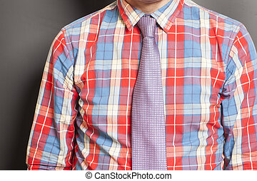 Man Dressed Checkered Shirt With Tie On Gray Background