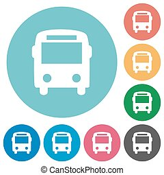Flat bus icons - Flat bus icon set on round color background...