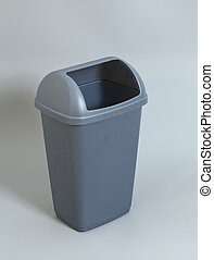 Gray garbage can isolated on gray background