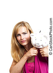 Woman With Piggy Bank Isolated On White Background